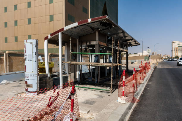 A bus stop under construction on the King Saud Road stock photo
