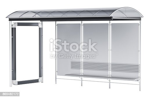 istock Bus Stop with advertising panel, 3D rendering isolated on white background 865482172