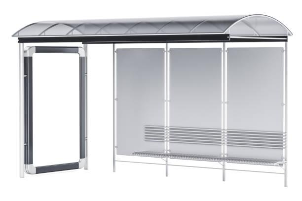 Paragem de autocarro com painel de publicidade, 3D, renderização isolado no fundo branco - foto de acervo