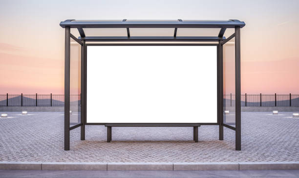 bushalte met grote horizontale advertentie - bushalte stockfoto's en -beelden
