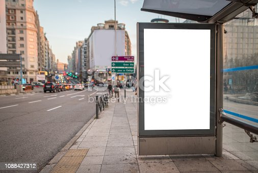 istock Bus stop with billboard 1088427312