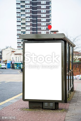 istock Bus stop with billboard 518173712