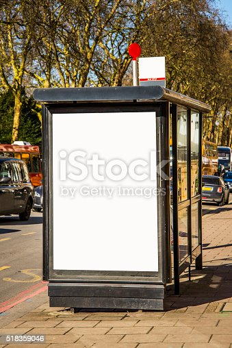 istock Bus stop with billboard 518359046