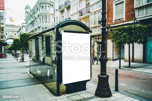 istock Bus stop with billboard 533857540