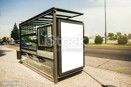 istock Bus stop with billboard 599757036