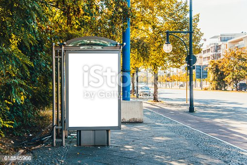 istock Bus stop with billboard 618545966