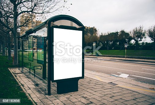 istock Bus stop with billboard 638190856