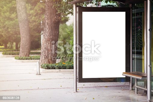 istock Bus stop with billboard 692608128
