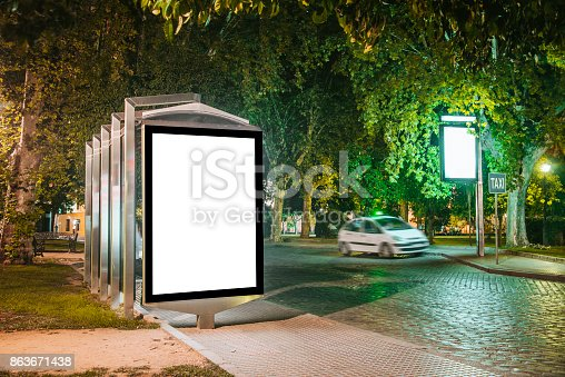 istock Bus stop with billboard 863671438