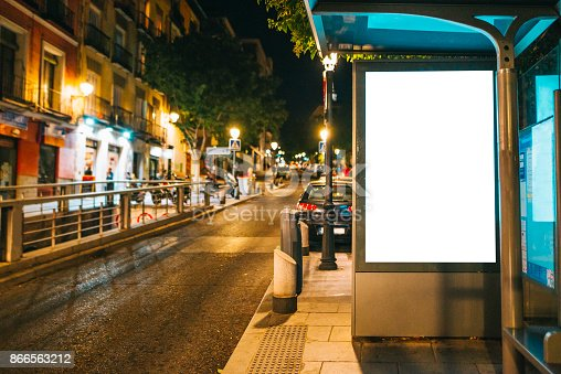 istock Bus stop with billboard 866563212