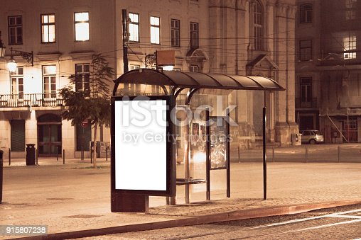 istock Bus stop with billboard 915807238