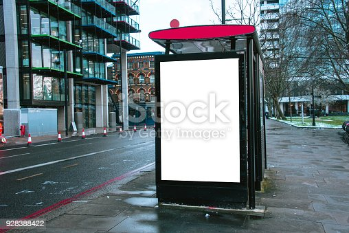 istock Bus stop with billboard 928388422