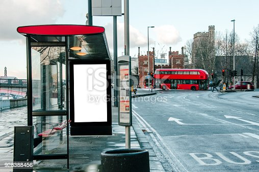 istock Bus stop with billboard 928388456