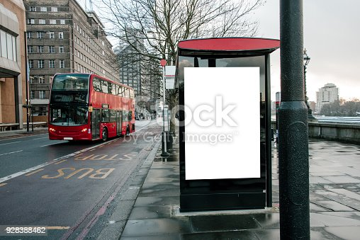 istock Bus stop with billboard 928388462