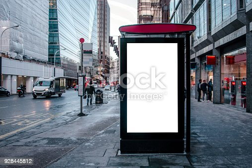 istock Bus stop with billboard 928445812