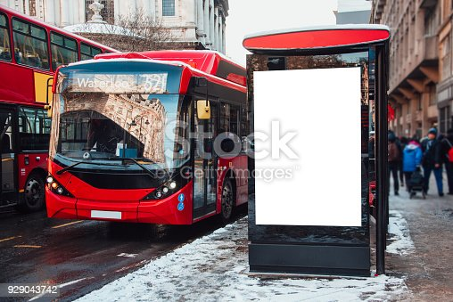 istock Bus stop with billboard 929043742