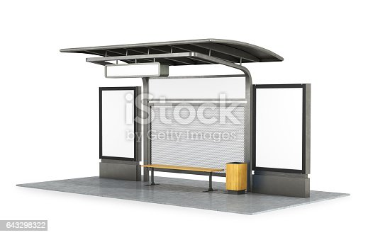 istock Bus stop with blank banners 643298322