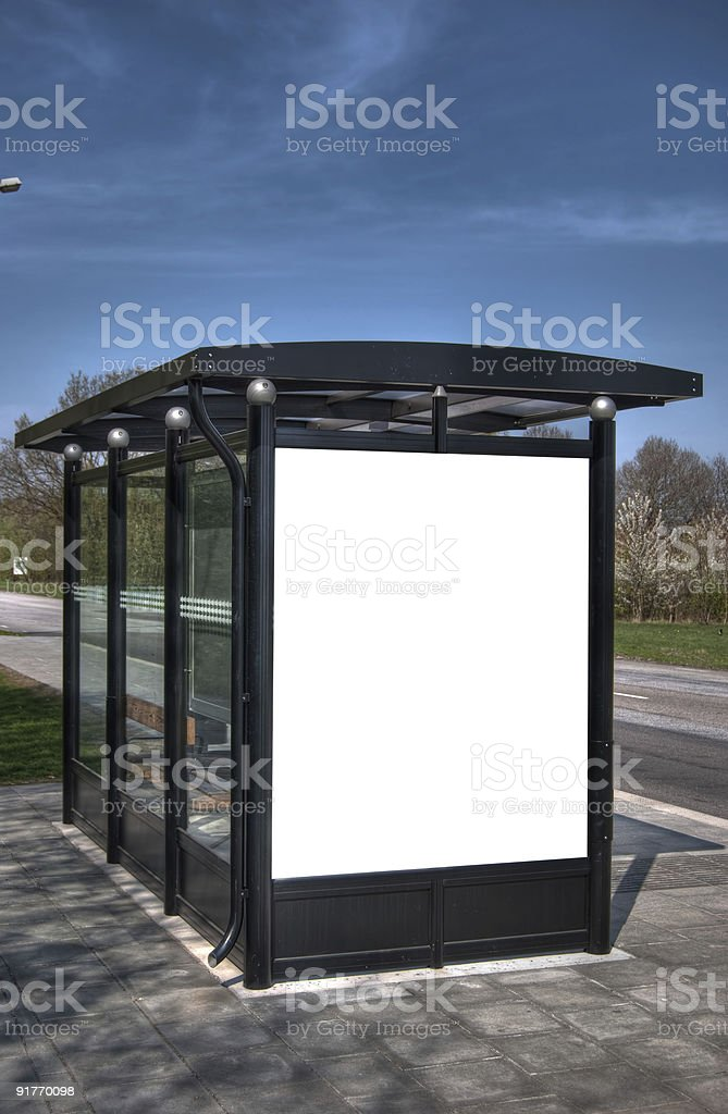 bus stop with blank bilboard HDR 06 royalty-free stock photo