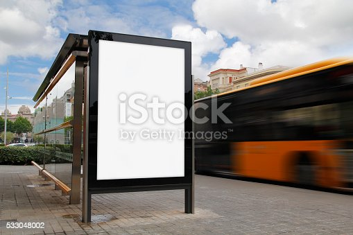 istock Bus stop with blank billboard 533048002