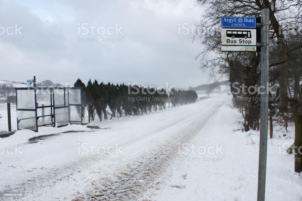 Bus Stops & Deep Snow stock photo