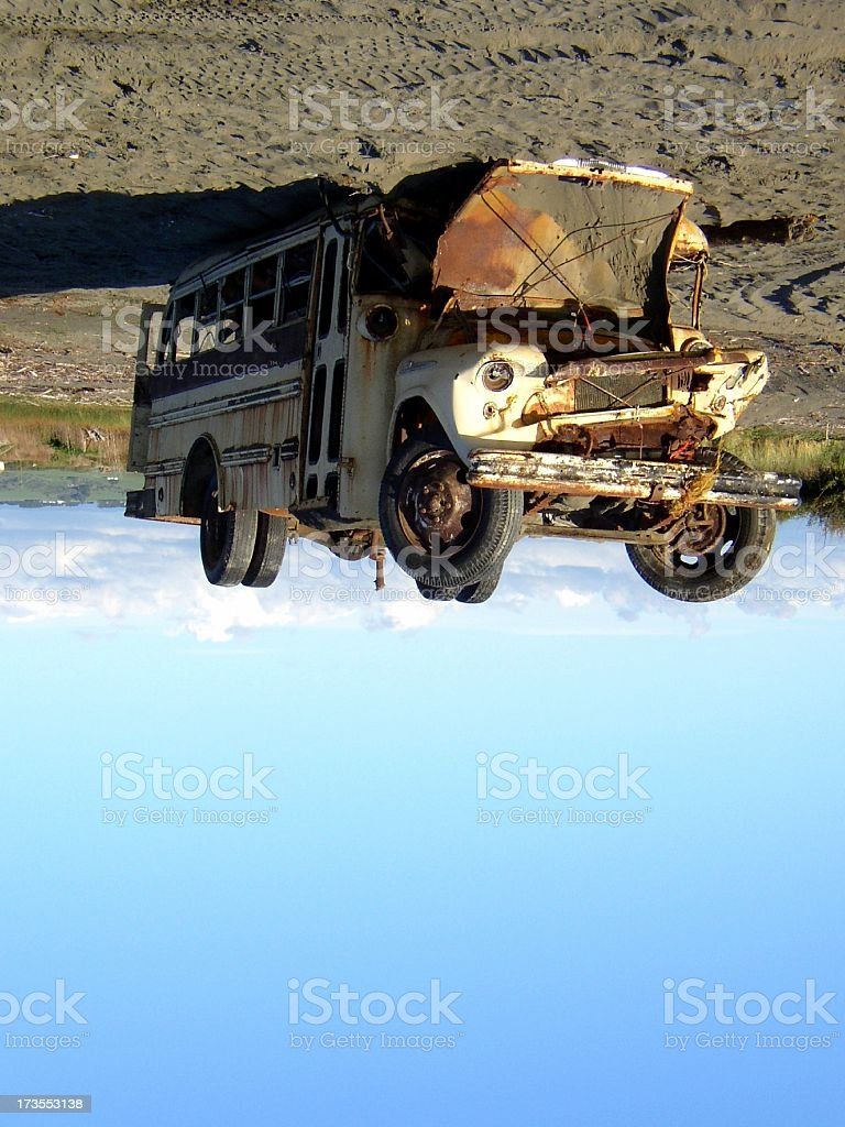 bus stuck to the earth royalty-free stock photo