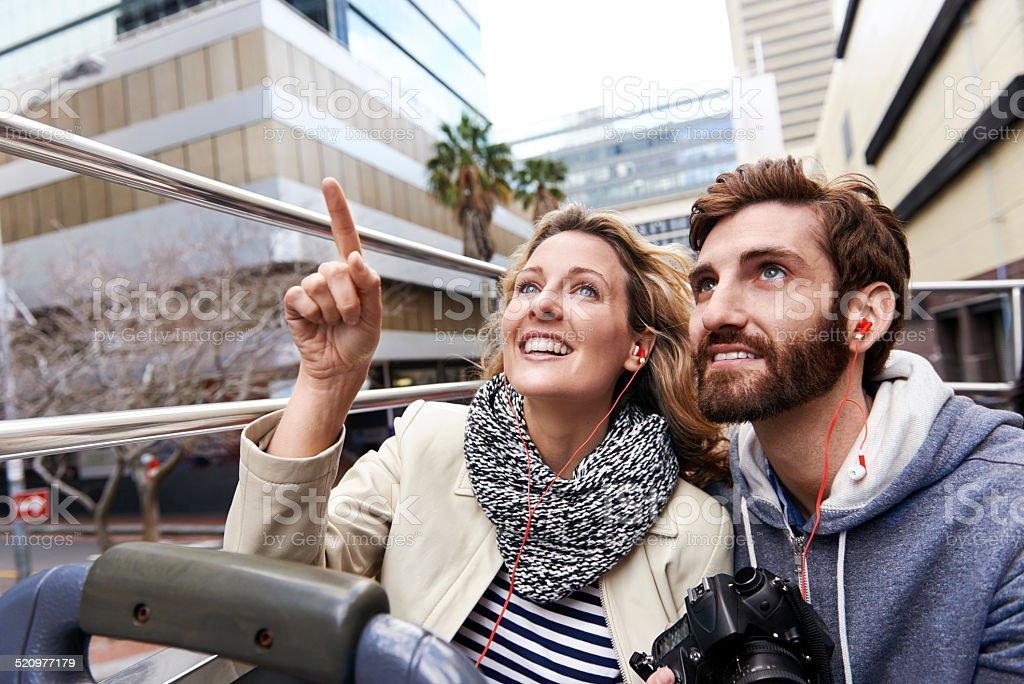 bus tour of city stock photo