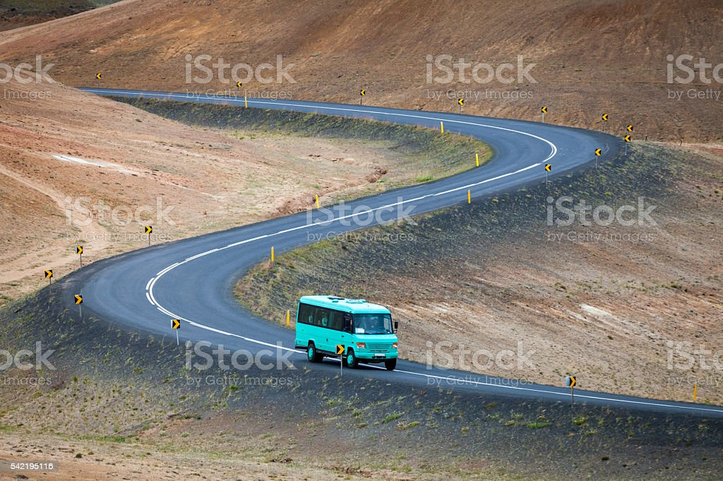 Bus transport of tourists in Iceland stock photo
