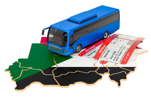 Bus travel in Sudan, concept. 3D rendering isolated on white background Bus travel in Sudan, concept. 3D rendering isolated on white background omdurman stock pictures, royalty-free photos & images