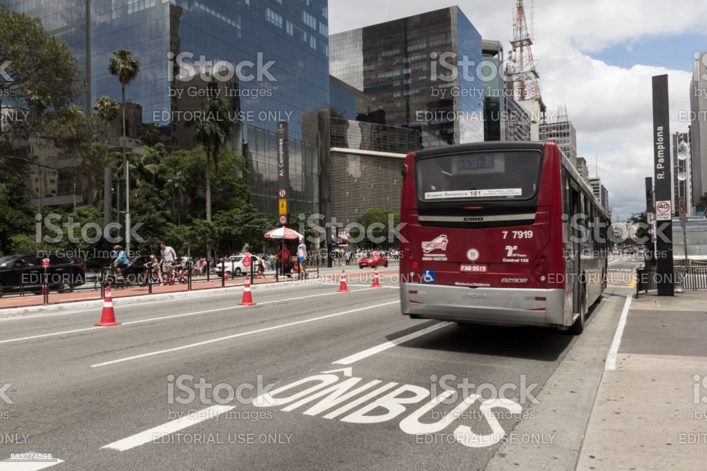 Bus using exclusive lane in Sao Paulo, Brazil. stock photo