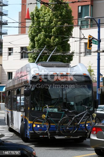 istock Bus with bike rack 146775797