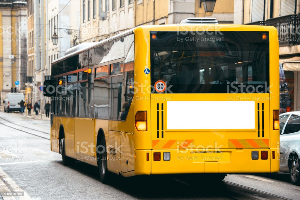 Bus with billboard - foto stock