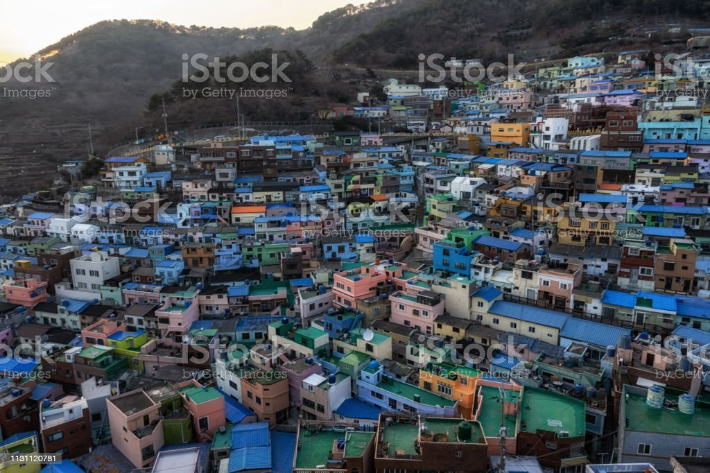 Busan Gamcheon Culture Village Sunset Stock Photo Download Image