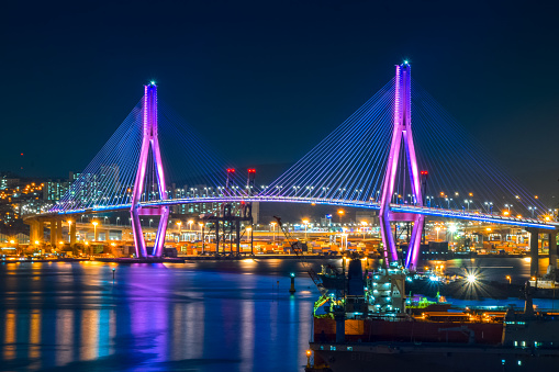 Seoul,South Korea. 1/18/2020 Busan Harbor Bridge - Busan City Night View