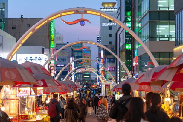 Busan International Film Festival (BIFF) Square, famous movie district and cultural tourist attraction with street food stalls and shops along the way in Nampodong, Busan City, South Korea stock photo