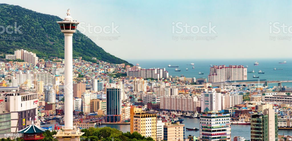 Busan Jung-gu aerial view panorama with tower Busan Jung-gu aerial view panorama with tower and a clear sky. Aerial View Stock Photo