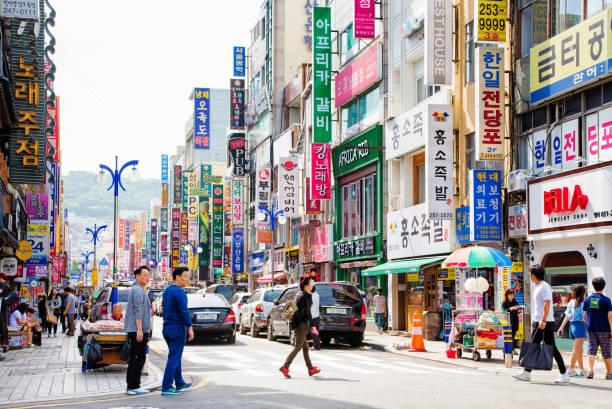 釜山韓国グァンボク洞ストリート シーン昼間 - 釜山 ストックフォトと画像