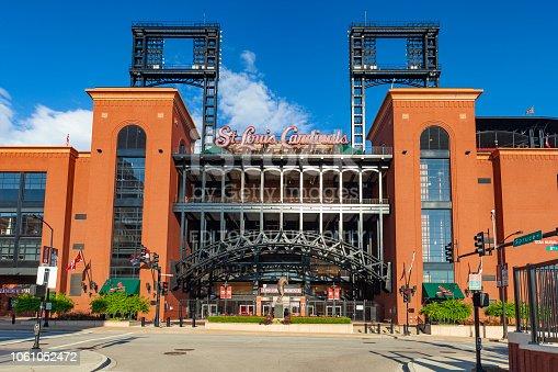 St. Louis, Missouri, USA - July 15, 2018:  Busch Stadium is where the Major League Baseball team the Cardinals play.
