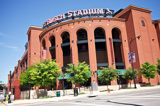 Busch Stadium St. Louis, MO, USA - April 29, 2011: Street view of the New Busch Stadium which is home to the St. Louis Cardinals Major League Baseball team. This is the First Base entrance. major league baseball stock pictures, royalty-free photos & images