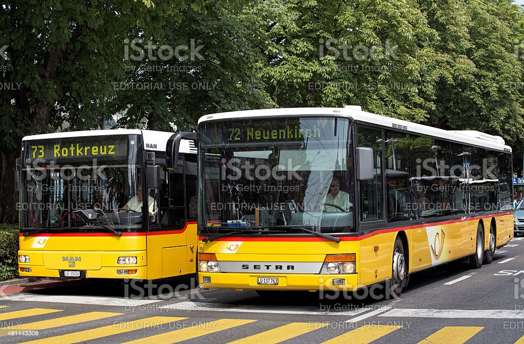 Buses in Lucerne stock photo