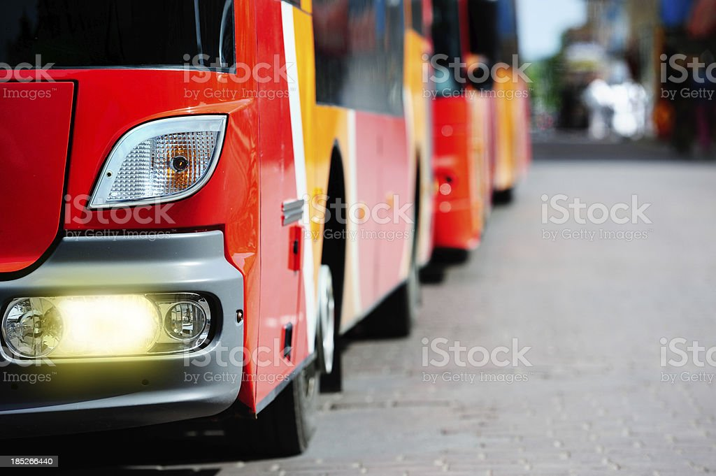 Buses in the city traffic royalty-free stock photo