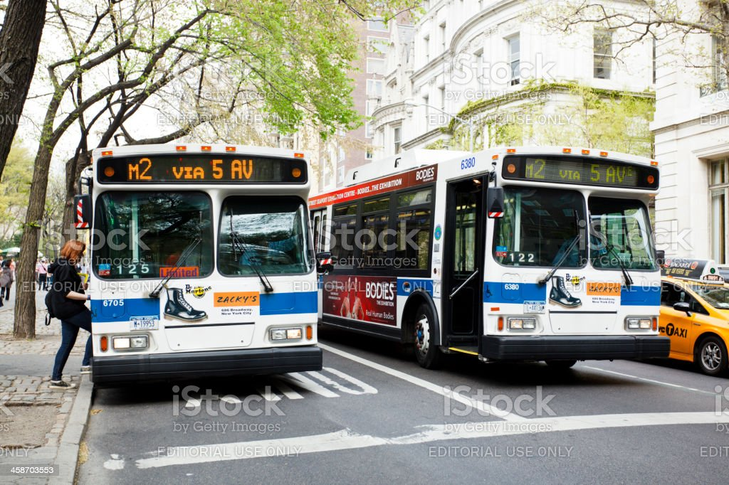 Buses on Fifth Avenue Manhattan stock photo