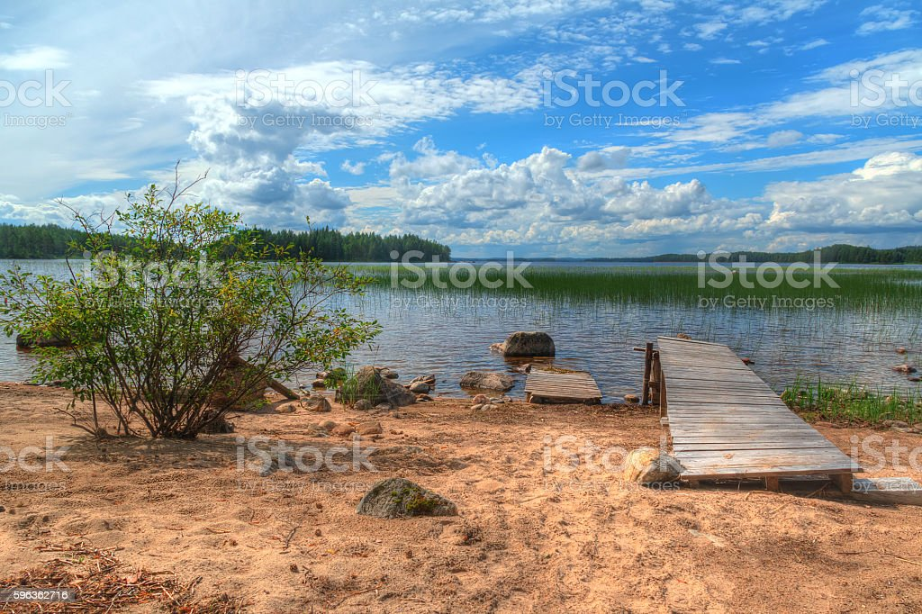 Bush and pier on sandy shore of lake royalty-free stock photo