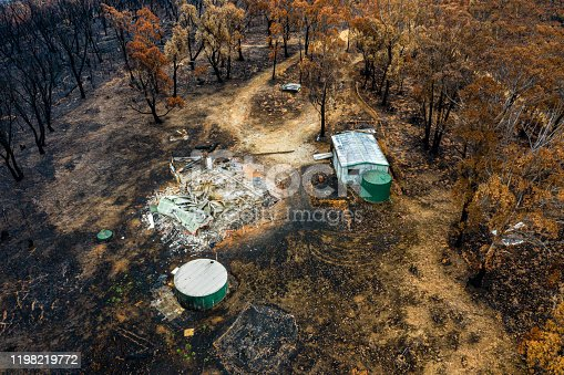 Aerial view of Australian bush fire destruction with a burnt home & property. Bell NSW 2020 bush fires - Blue Mountains