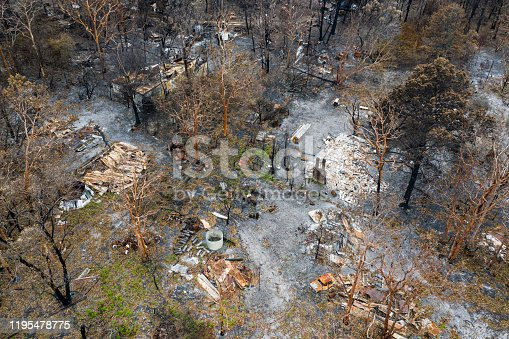 Aerial view of Australian bush fire destruction with a burnt home & property