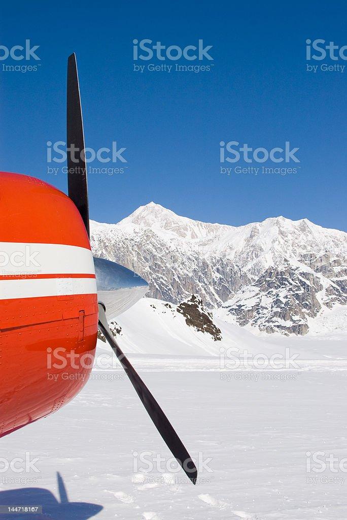 Bush Plane with Denali in Background stock photo