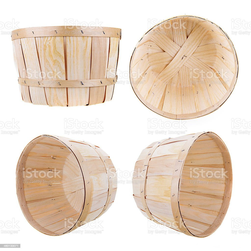 Bushel Basket on White - 4 angles stock photo