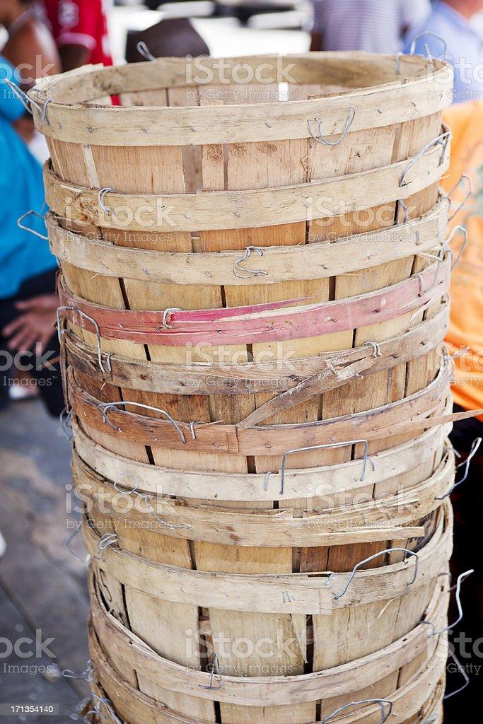 Bushel Baskets Stacked at Market royalty-free stock photo