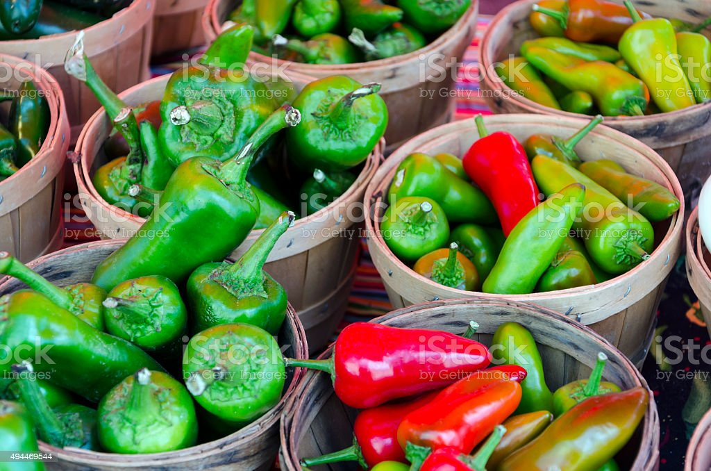 Bushels of Chile Chili Peppers stock photo