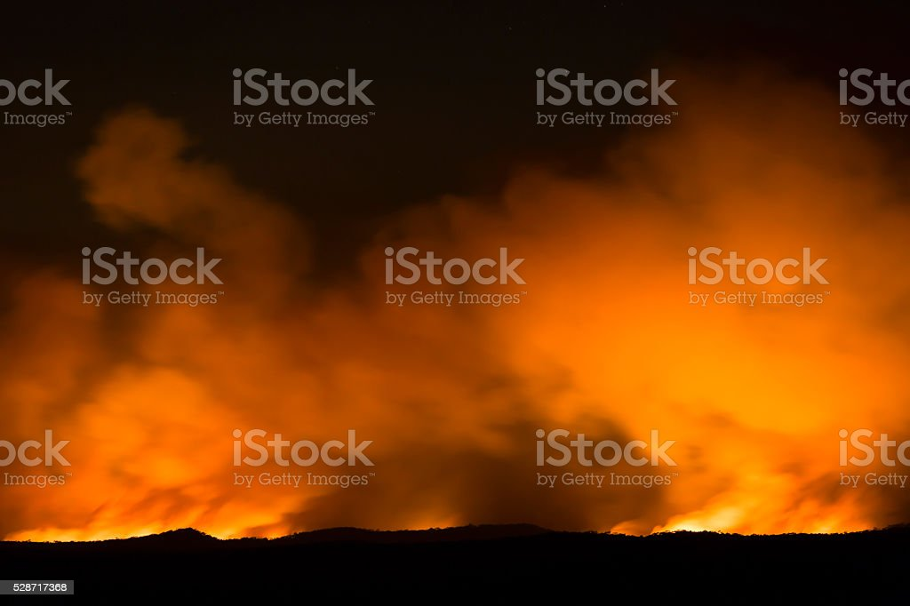 Bushfire, flames and smoke over the horizon, copy space stock photo
