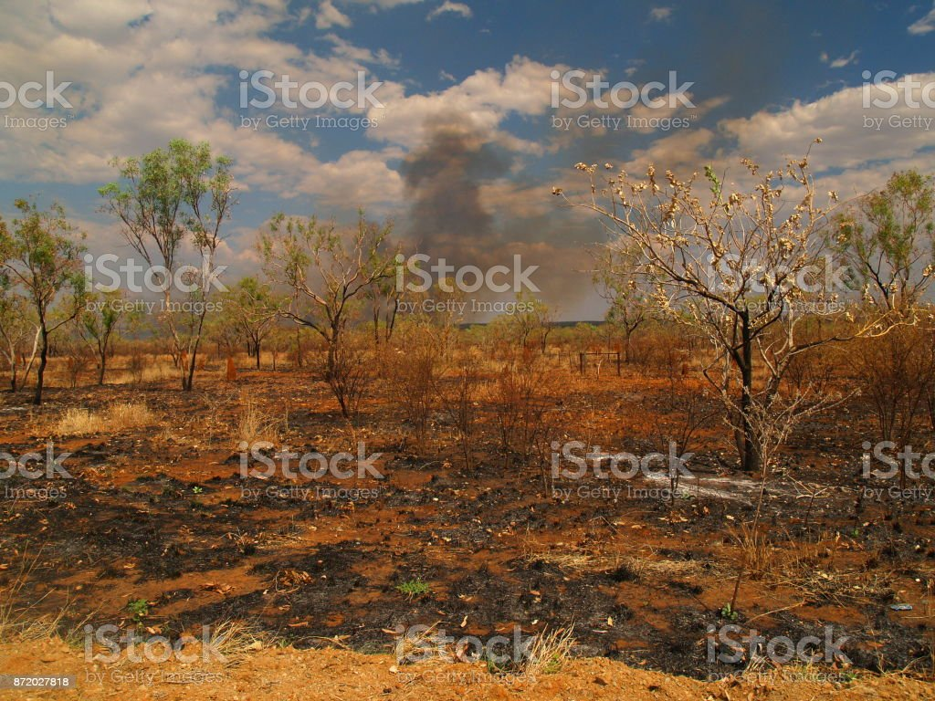 Bushfire in Australian outback stock photo
